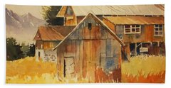 Beach Towel featuring the painting Autumn Barn And Sheds by Al Brown