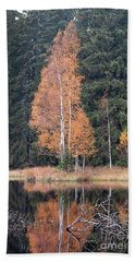 Autumn Birch By The Lake Beach Sheet by Michal Boubin