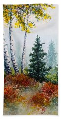 Beach Towel featuring the painting Autumn Birch by Carolyn Rosenberger
