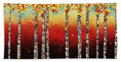 Autumn Birch Trees Beach Sheet