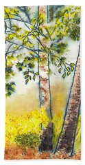 Autumn Birch Trees Beach Sheet