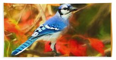 Autumn Blue Jay Beach Towel