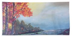 Autumn By The Creek Beach Towel