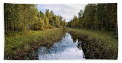 Autumn By The Riverside Beach Towel