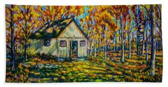 Autumn Cabin Trip Beach Towel