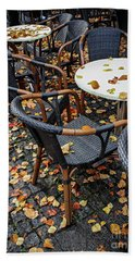 Beach Towel featuring the photograph Autumn Cafe by Elena Elisseeva