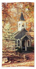 Beach Towel featuring the photograph Autumn Chapel by Joel Witmeyer