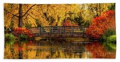 Autumn Color By The Pond Beach Towel
