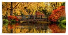 Autumn Color By The Pond Beach Towel
