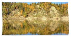 Beach Towel featuring the photograph Autumn Colors On The North Saskatchewan River by Jim Sauchyn