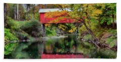 Autumn Colors Over Slaughterhouse. Beach Towel