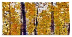 Autumn  Day In The Woods Beach Sheet by MaryLee Parker
