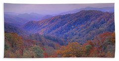 Beach Towel featuring the photograph Autumn Deciduous Forest Great Smoky by Tim Fitzharris