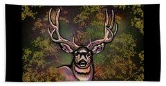 Autumn Deer Abstract Beach Towel