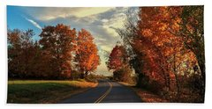 Beach Towel featuring the photograph Autumn Drive by Kendall McKernon