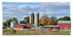 Autumn Elk Farm Beach Towel by Bonfire Photography
