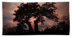 Beach Towel featuring the photograph Autumn Evening Sunset Silhouette by Chris Lord