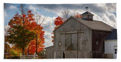 Autumn Fall Colors Turn Next To Grey Barn Beach Towel