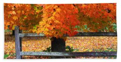 Autumn Fence Beach Towel