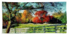 Autumn Field On The Farm Beach Towel