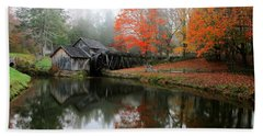 Autumn Foggy Morning At Mabry Mill Virginia  Beach Towel