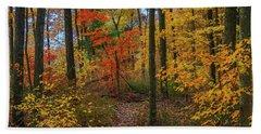 Autumn Forest Hike Beach Towel