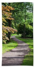 Autumn Forest Path Beach Towel by Scott Lyons