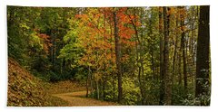 Autumn Forest Road. Beach Towel by Ulrich Burkhalter