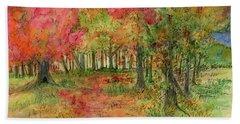 Autumn Forest Watercolor Illustration Beach Towel