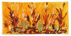 Beach Towel featuring the painting Autumn Garden by Holly Carmichael