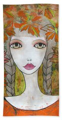 Autumn Girl  Beach Towel
