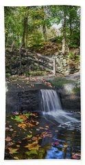 Beach Towel featuring the photograph Autumn Glen Olmsted Falls by Lon Dittrick