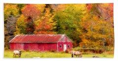 Autumn Horses Beach Sheet by Ken Morris
