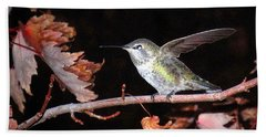 Beach Towel featuring the photograph Autumn Hummer by Joyce Dickens