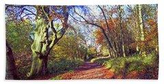 Autumn In Ashridge Beach Towel by Anne Kotan