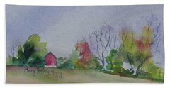 Beach Towel featuring the painting Autumn In Rural Ohio by Mary Haley-Rocks