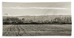 Autumn In The Countryside Bw Beach Towel