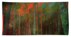 Beach Towel featuring the photograph Autumn In The Magic Forest by Mimulux patricia No