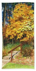 Beach Towel featuring the painting Autumn Invitation by Barbara Jewell