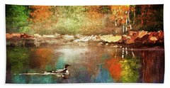 Autumn Lake Reflections Beach Towel