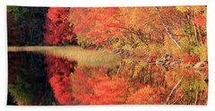 Autumn Lake Scenery Beach Sheet