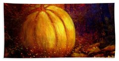 Beach Towel featuring the painting Autumn Landscape Painting by Annie Zeno