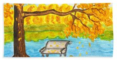 Autumn Landscape With Tree And Bench, Painting Beach Towel
