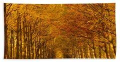 Autumn Lane In An Orange Forest Beach Towel