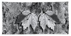 Autumn Leaf Abstract In Black And White Beach Towel