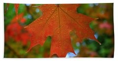 Autumn Leaf In The Rain Beach Towel
