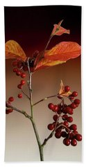 Beach Towel featuring the photograph Autumn Leafs And Red Berries by David French