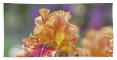 Autumn Leaves Iris Flower. The Beauty Of Irises  Beach Towel