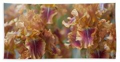 Autumn Leaves Irises In Garden Beach Towel