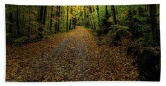 Beach Sheet featuring the photograph Autumn Leaves On The Trail by David Patterson